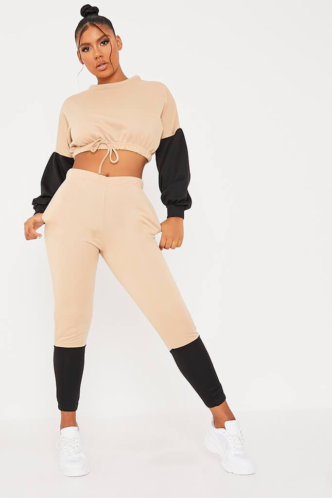 Stone Colour Block Crop Sweater And Joggers Set