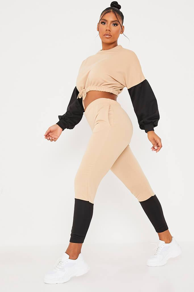 Stone Colour Block Crop Sweater And Joggers Set view 3