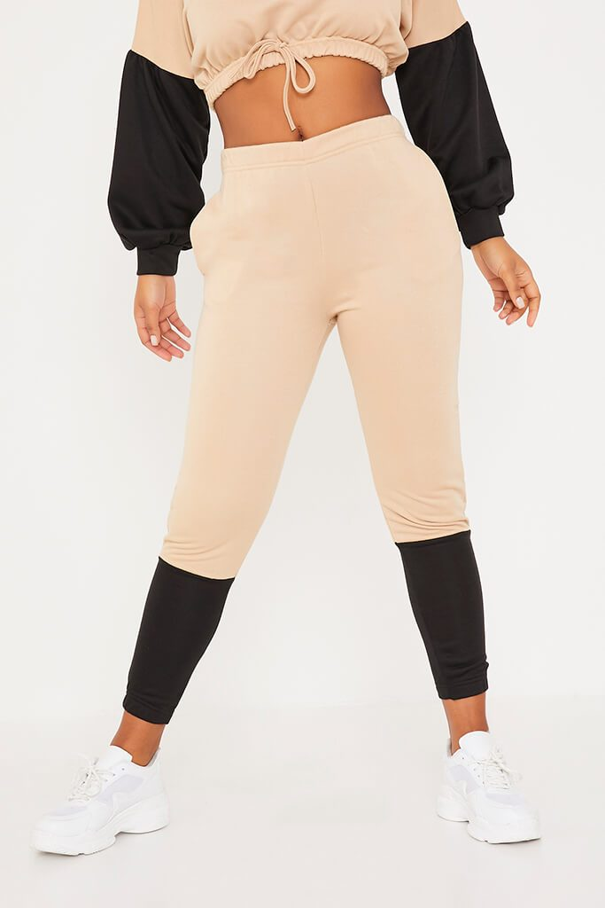 Stone Colour Block Crop Sweater And Joggers Set view 2