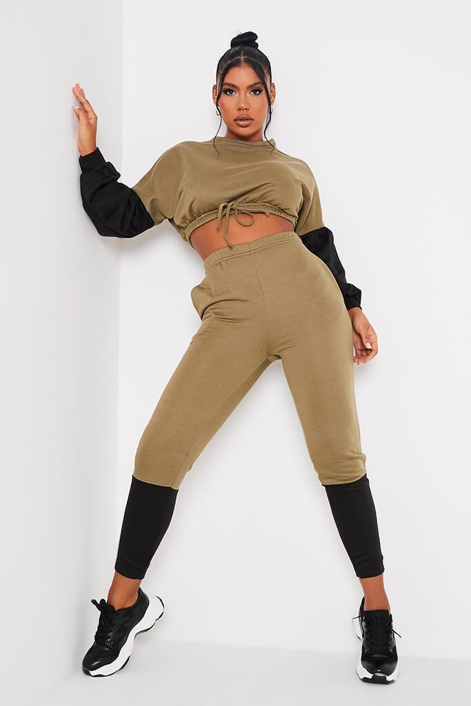 Khaki Colour Blockcrop Sweater And Joggers Set view main view