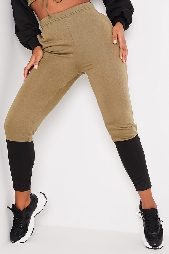 Khaki Colour Blockcrop Sweater And Joggers Set view 2