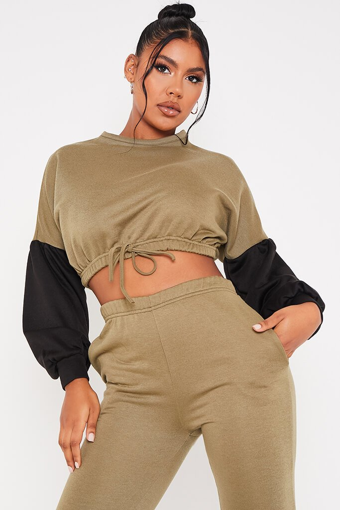Khaki Colour Blockcrop Sweater And Joggers Set view 5