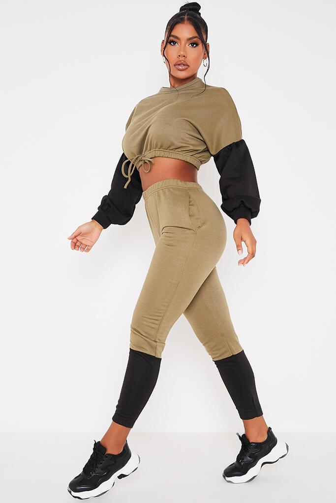 Khaki Colour Blockcrop Sweater And Joggers Set view 3