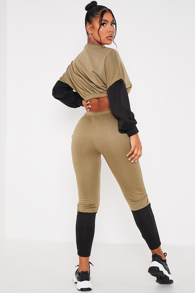 Khaki Colour Blockcrop Sweater And Joggers Set view 4