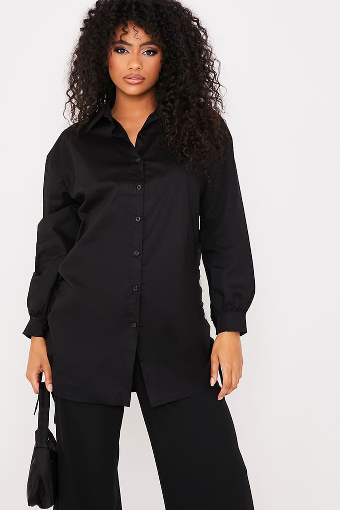 Black Oversized Ruched Side Shirt view main view