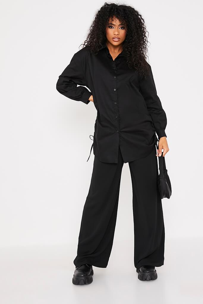 Black Oversized Ruched Side Shirt view 2