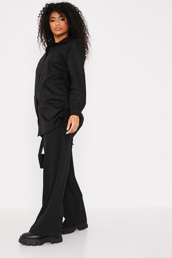 Black Oversized Ruched Side Shirt view 3