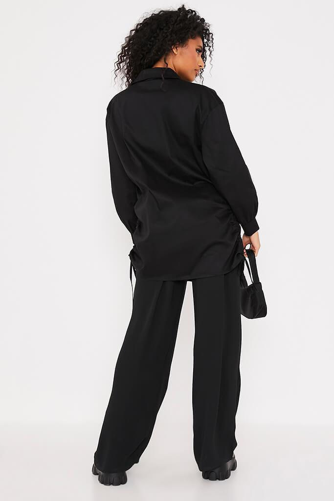 Black Oversized Ruched Side Shirt view 4
