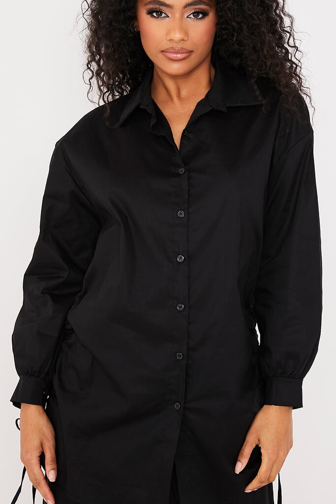 Black Oversized Ruched Side Shirt view 5