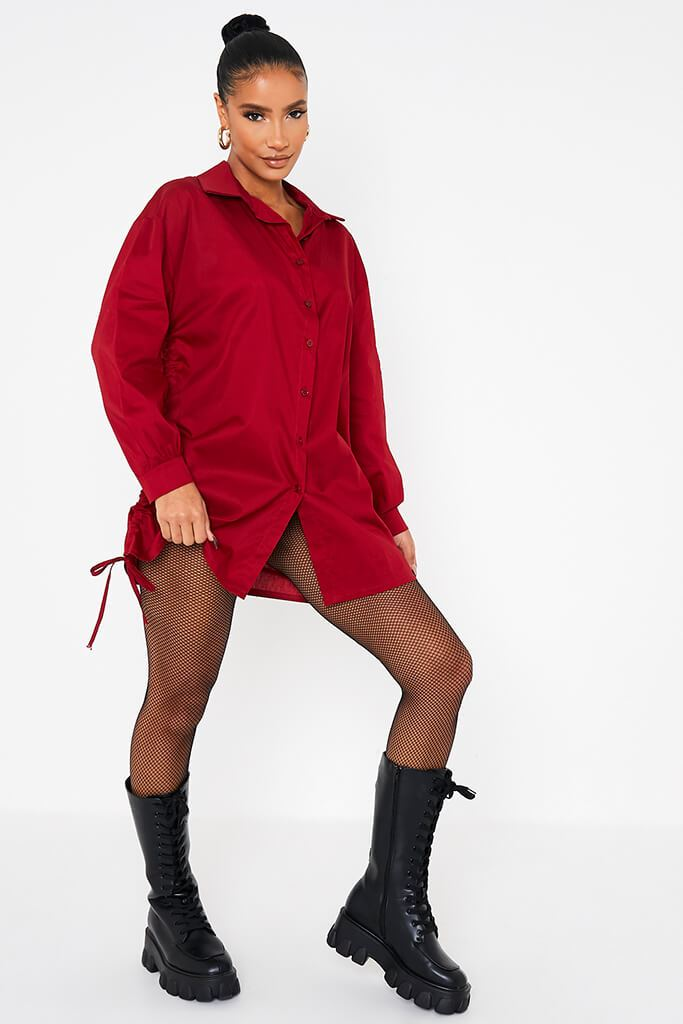 Wine Oversized Ruched Side Shirt view 2