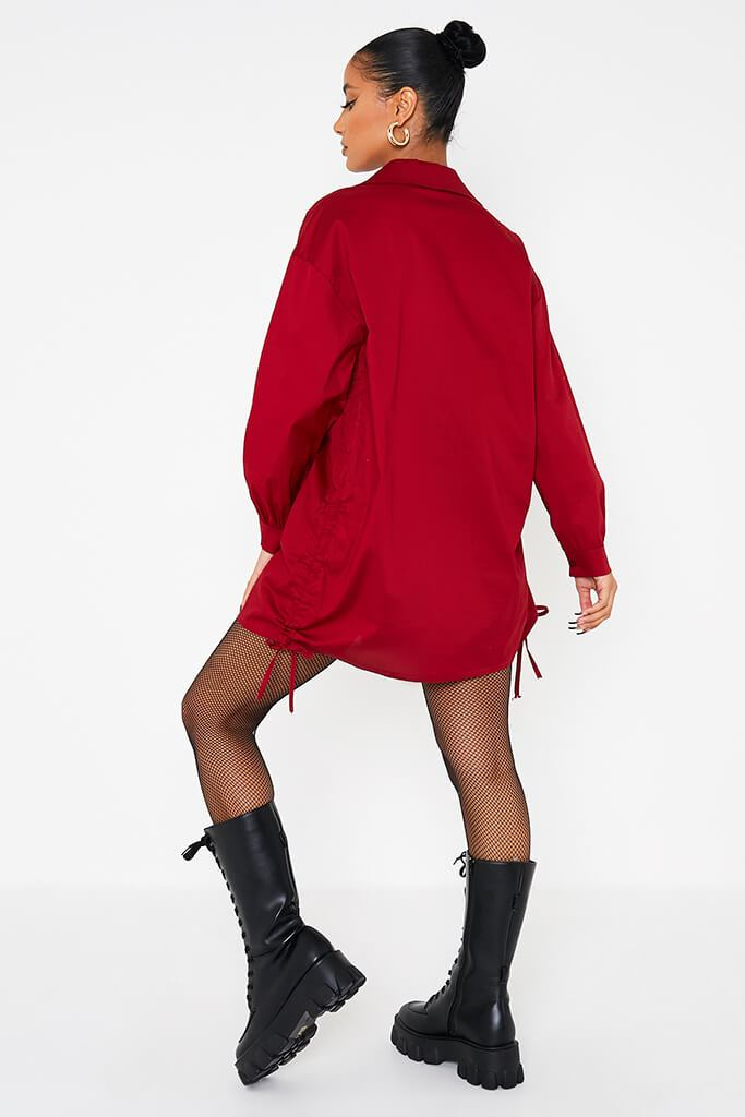 Wine Oversized Ruched Side Shirt view 4