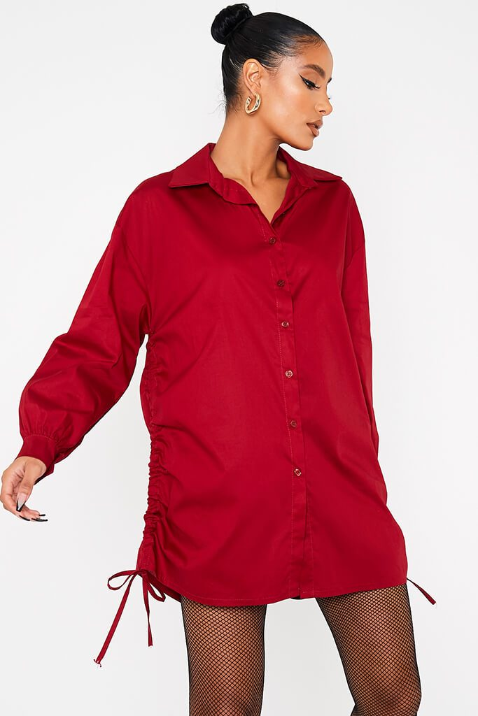 Wine Oversized Ruched Side Shirt