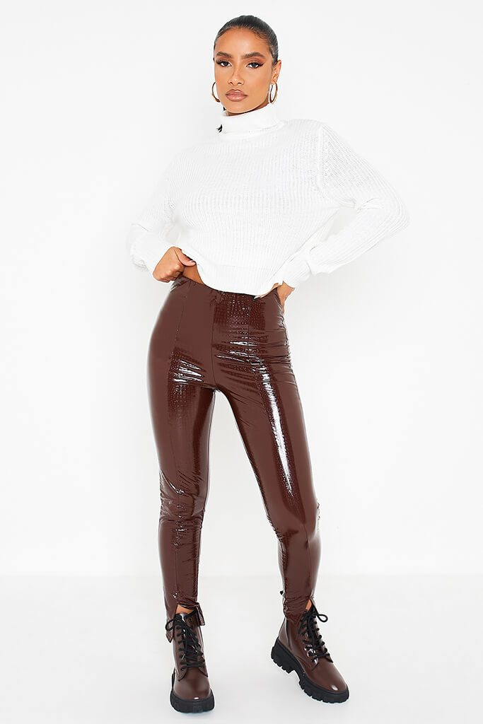 Chocolate Faux Leather Croc Front Split Hem Trousers view main view