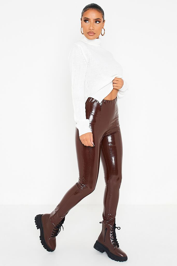 Chocolate Faux Leather Croc Front Split Hem Trousers view 3