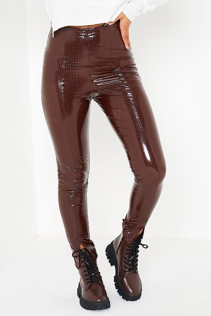 Chocolate Faux Leather Croc Front Split Hem Trousers view 2