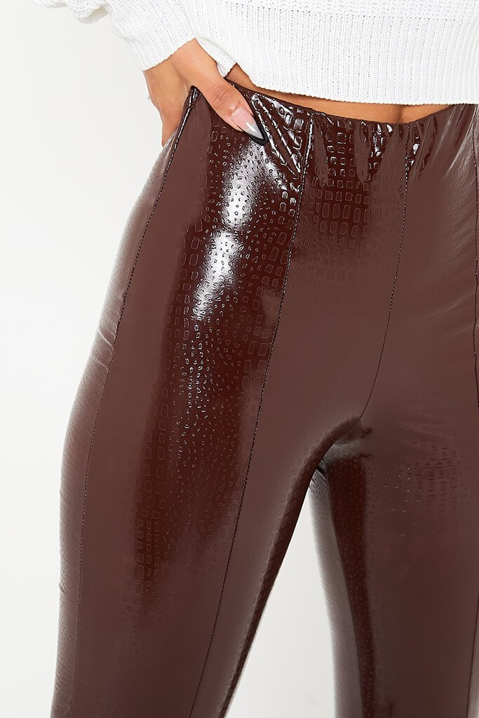 Chocolate Faux Leather Croc Front Split Hem Trousers view 5