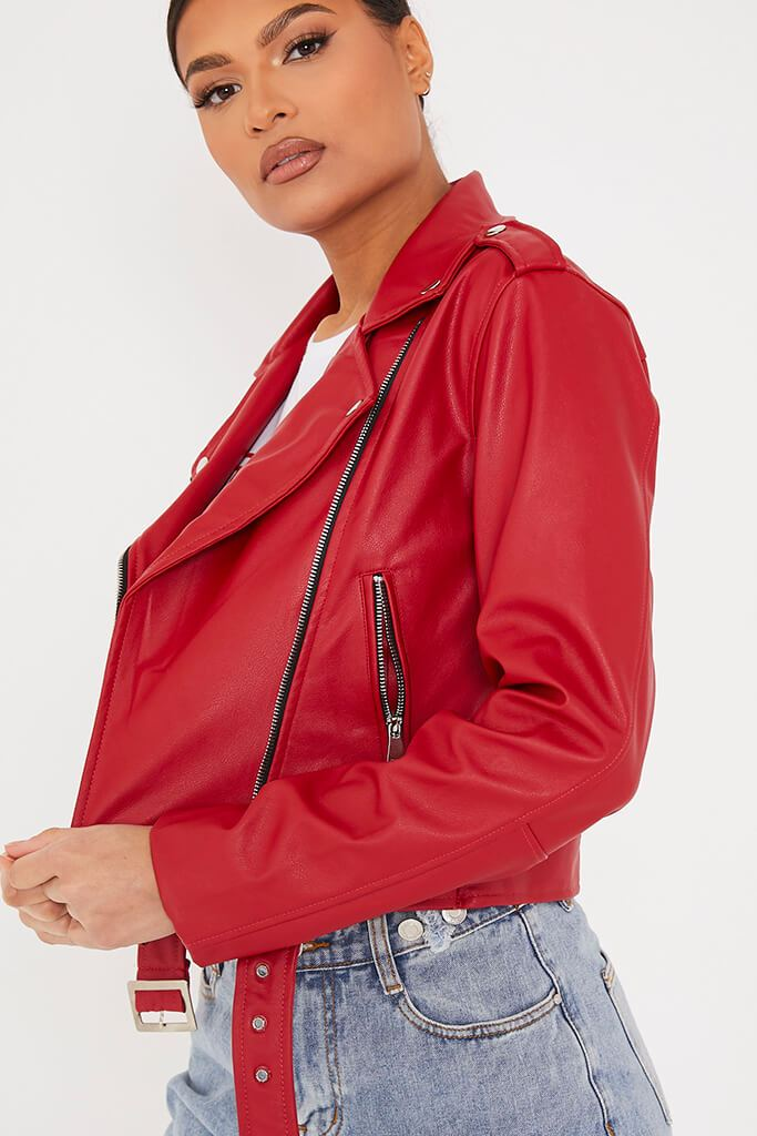Red Faux Leather Biker Jacket view 5
