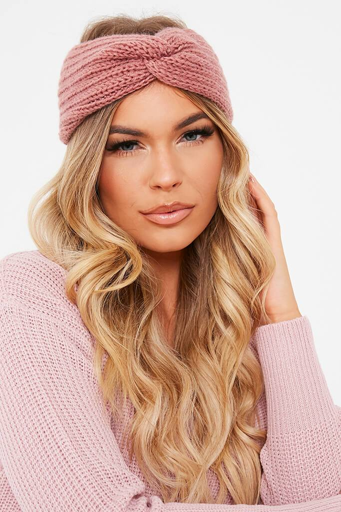 Blush Pink Knitted Twist Headband