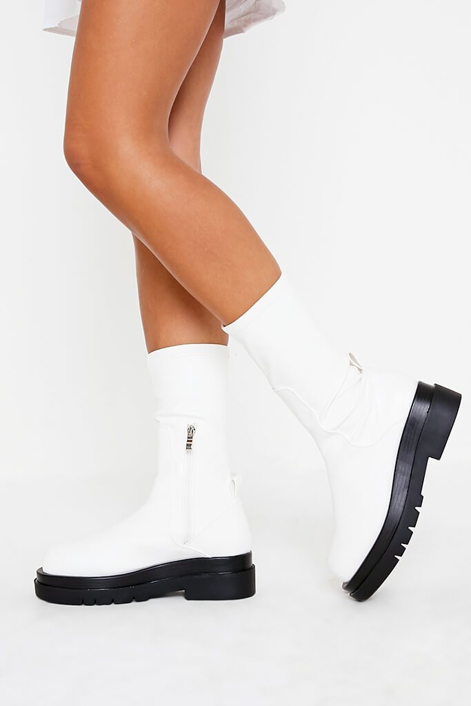 White Faux Leather Pull On Biker Boots view 2