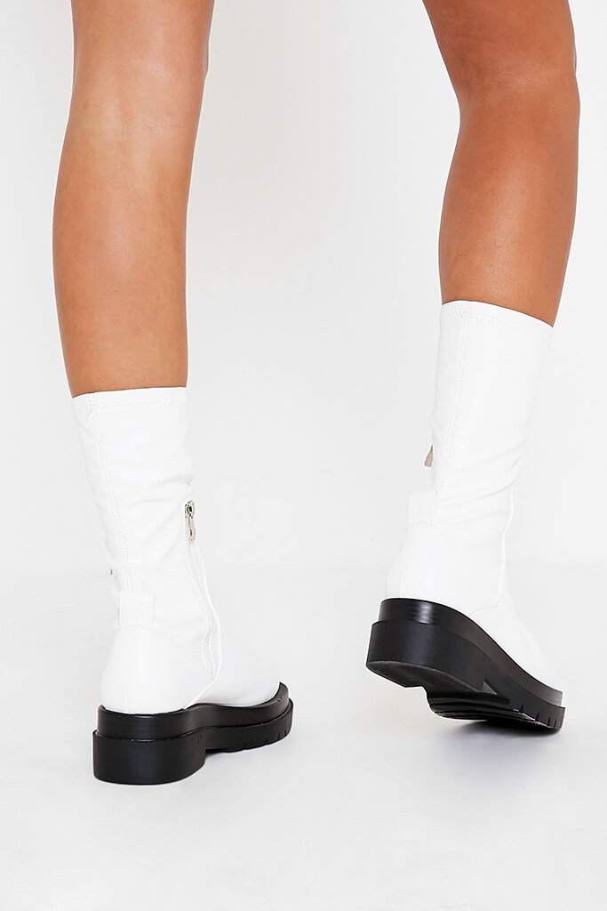 White Faux Leather Pull On Biker Boots view 3