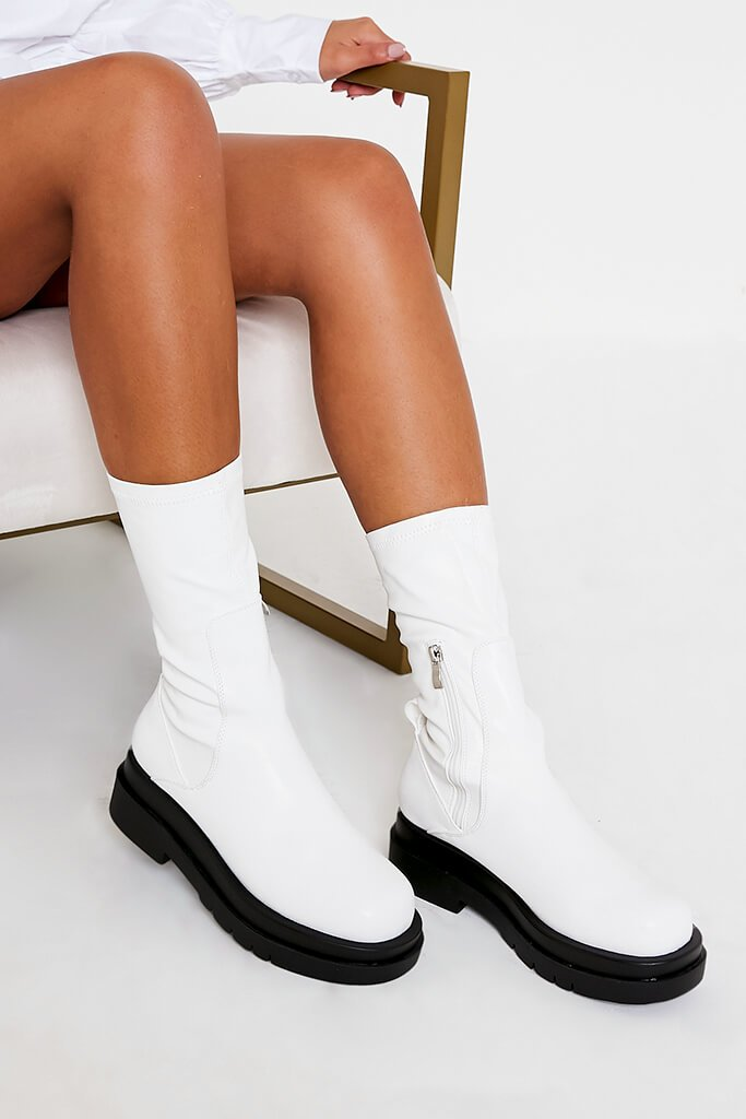 White Faux Leather Pull On Biker Boots