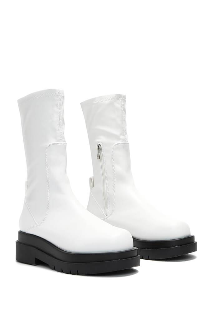 White Faux Leather Pull On Biker Boots view 4