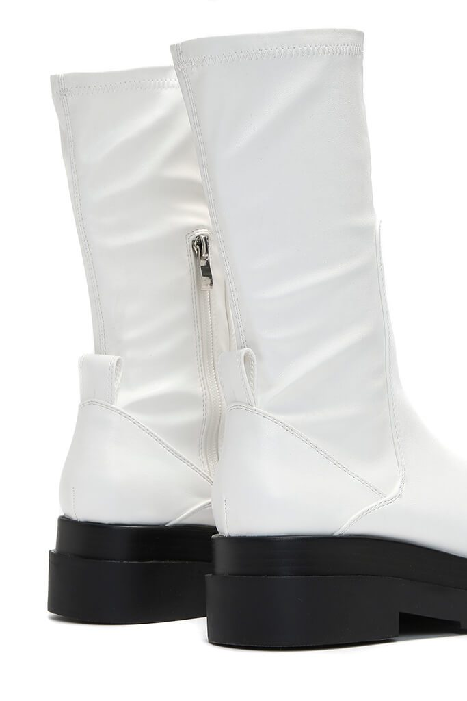 White Faux Leather Pull On Biker Boots view 5
