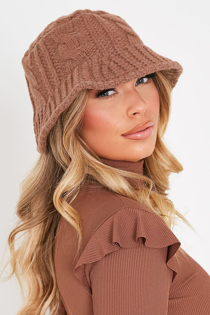 Camel Knitted Bucket Hat