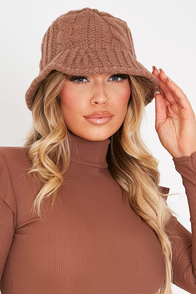Camel Knitted Bucket Hat view 2