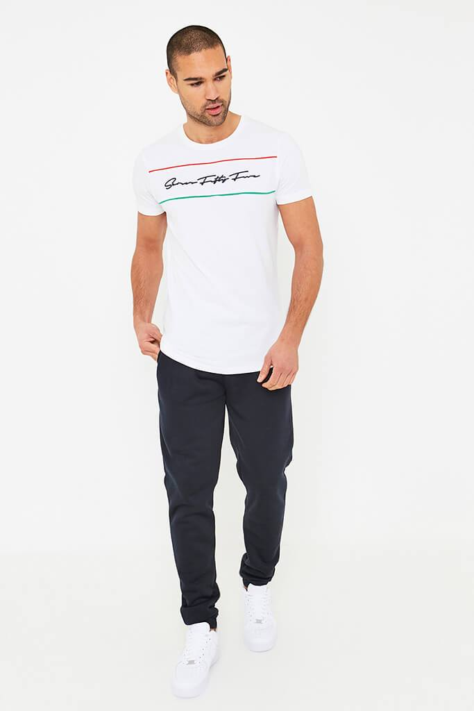 White Men's Capizzi Pipe Panel T-Shirt view 2