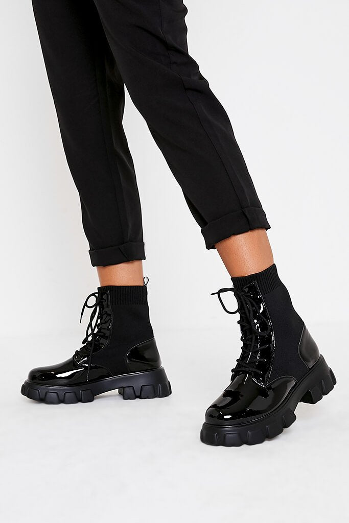Black Knitted Lace Up Chunky Patent Boots