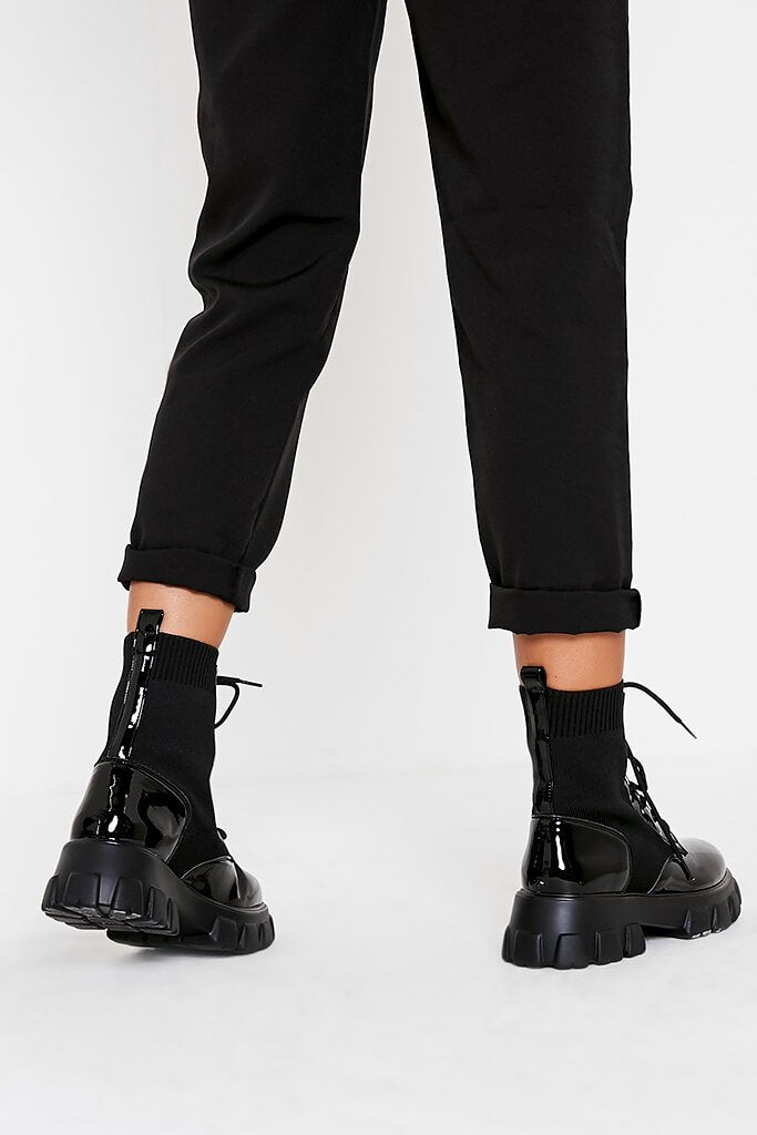 Black Knitted Lace Up Chunky Patent Boots view 3