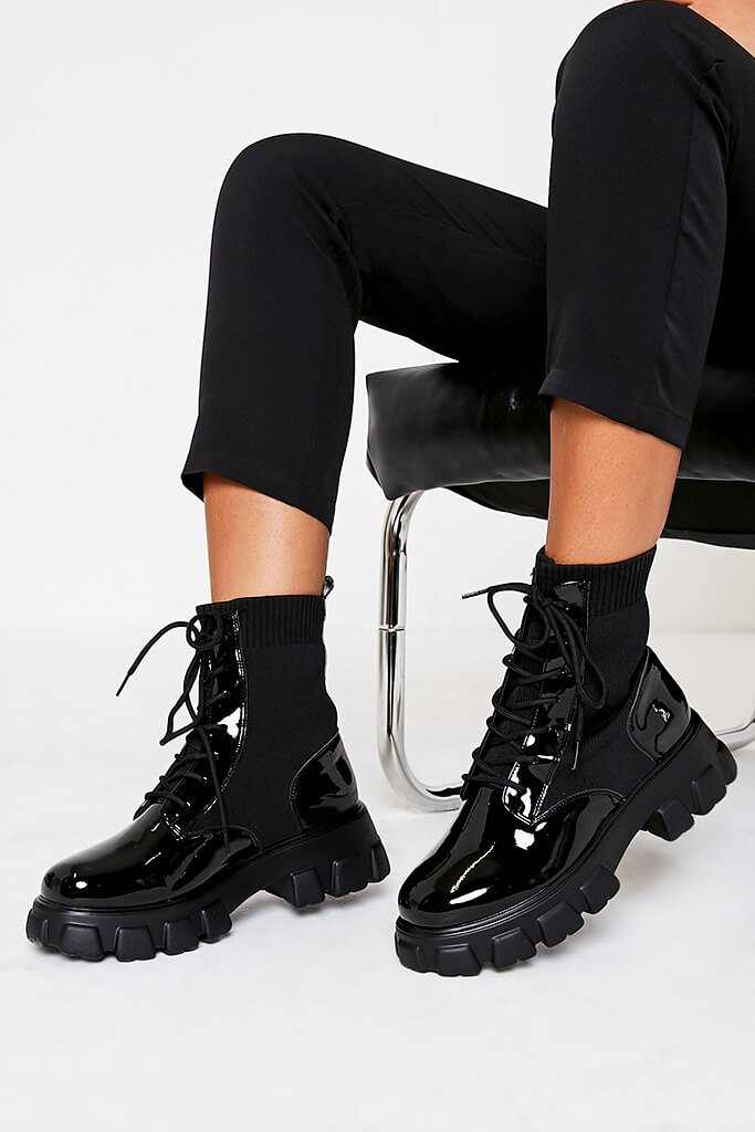 Black Knitted Lace Up Chunky Patent Boots view 2