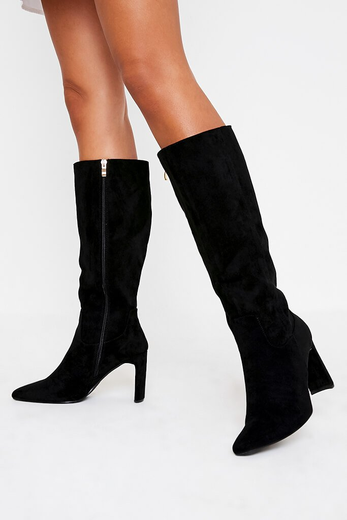 Black Curved Heel Calf Height Faux Suede Boots view 2