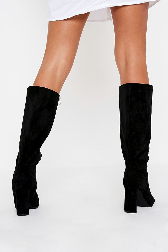 Black Curved Heel Calf Height Faux Suede Boots view 3