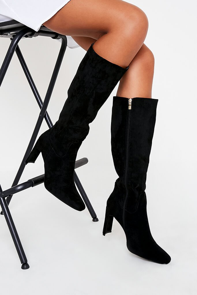 Black Curved Heel Calf Height Faux Suede Boots
