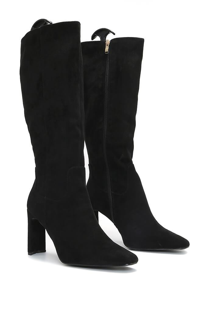 Black Curved Heel Calf Height Faux Suede Boots view 4