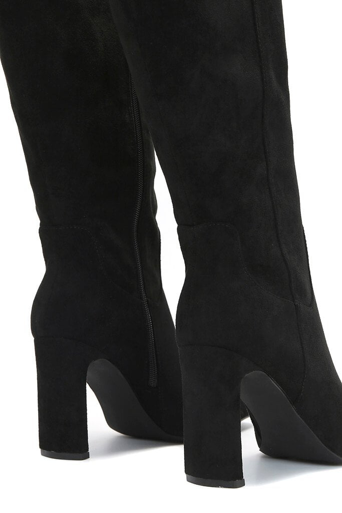 Black Curved Heel Calf Height Faux Suede Boots view 5
