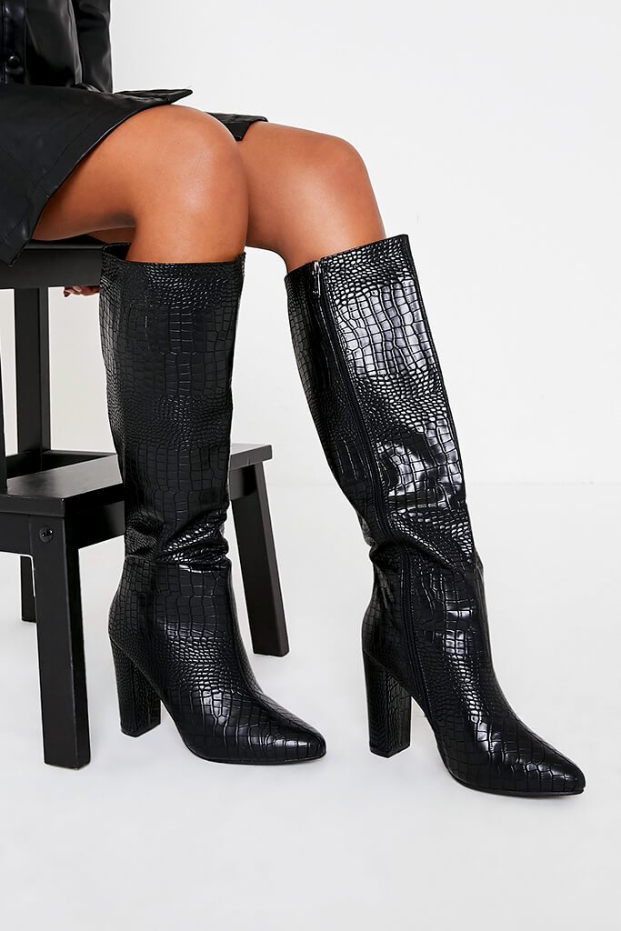 Black Block Heel Knee High Croc Print Boot