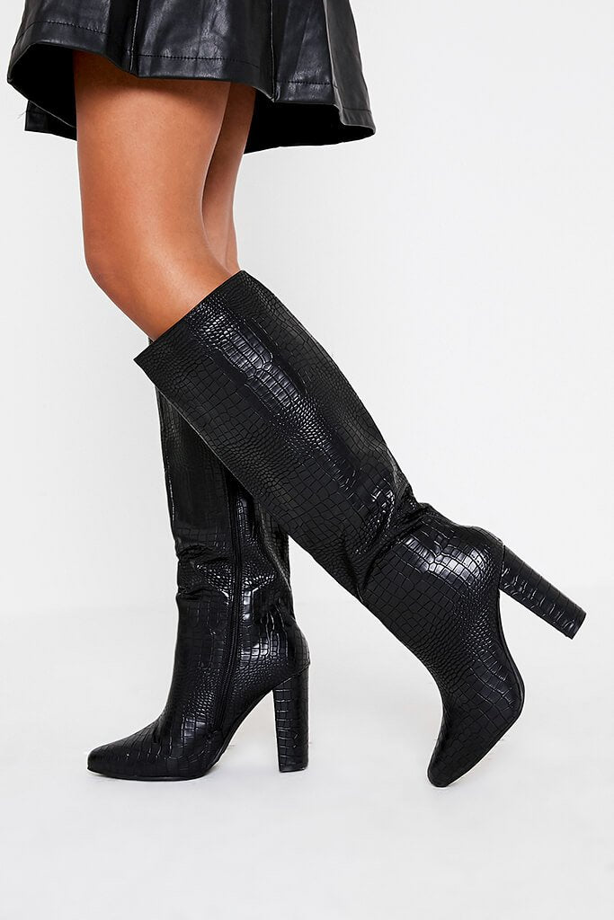 Black Block Heel Knee High Croc Print Boot view 2