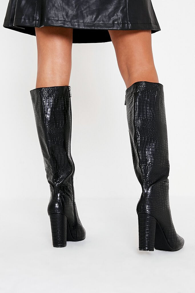 Black Block Heel Knee High Croc Print Boot view 3