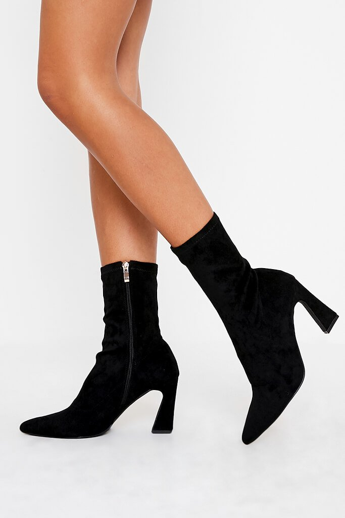 Black Flared Heel Sock Ankle Boots