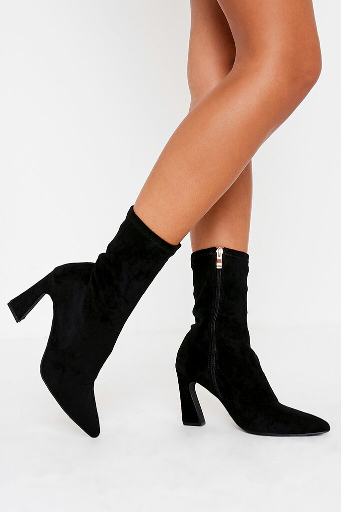 Black Flared Heel Sock Ankle Boots view 2