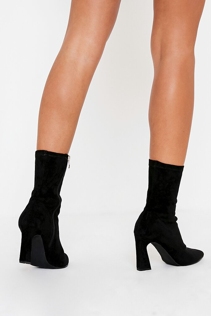 Black Flared Heel Sock Ankle Boots view 3