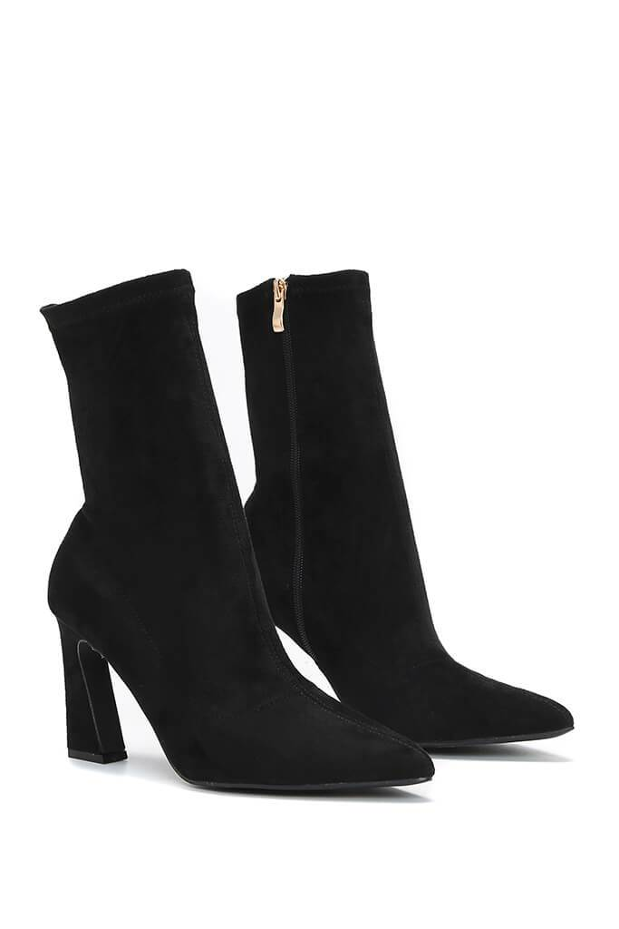 Black Flared Heel Sock Ankle Boots view 4