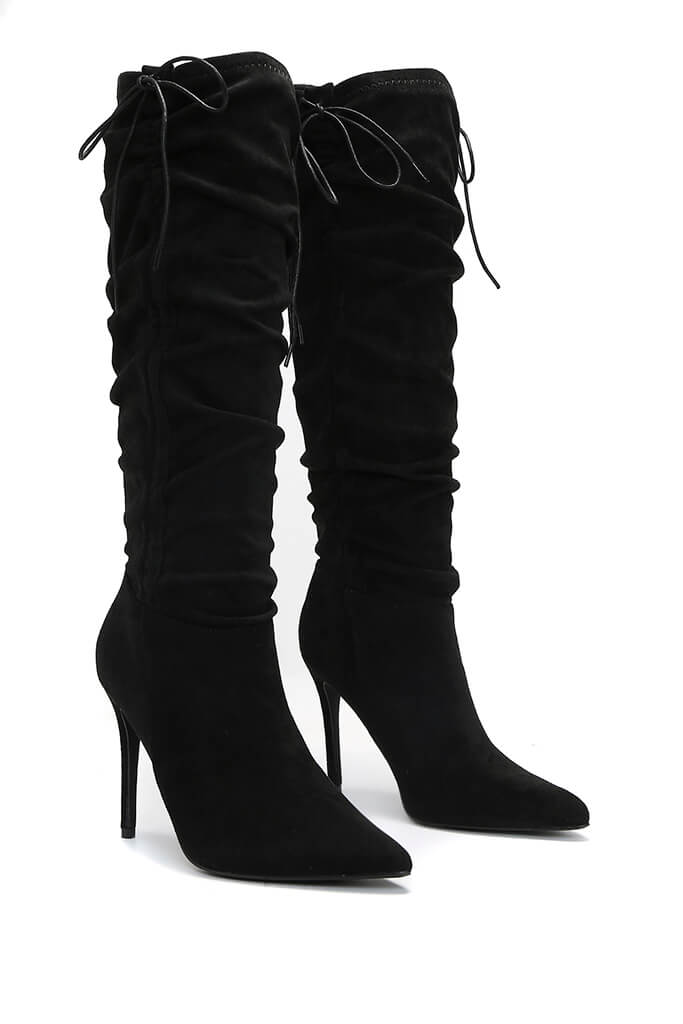 Black Ruched Side Heeled Knee High Boots view 4