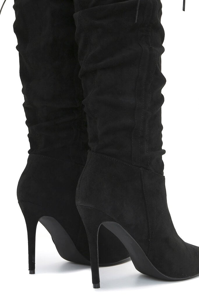 Black Ruched Side Heeled Knee High Boots view 5