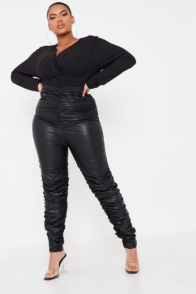 Black Plus Faux Leather Ruched Leggings