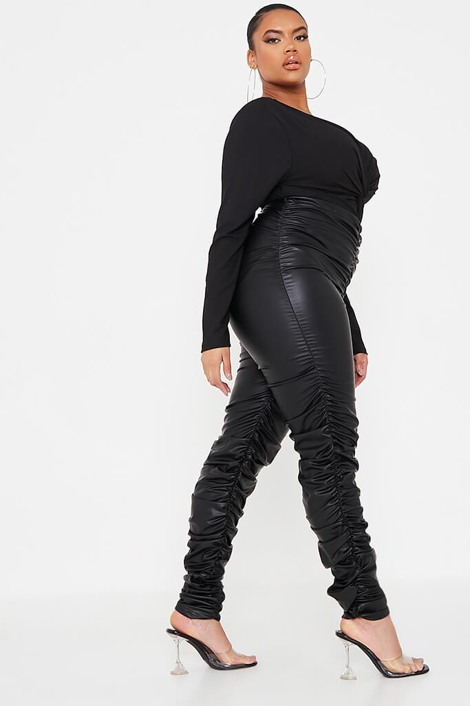 Black Plus Size Faux Leather Ruched Leggings view 3