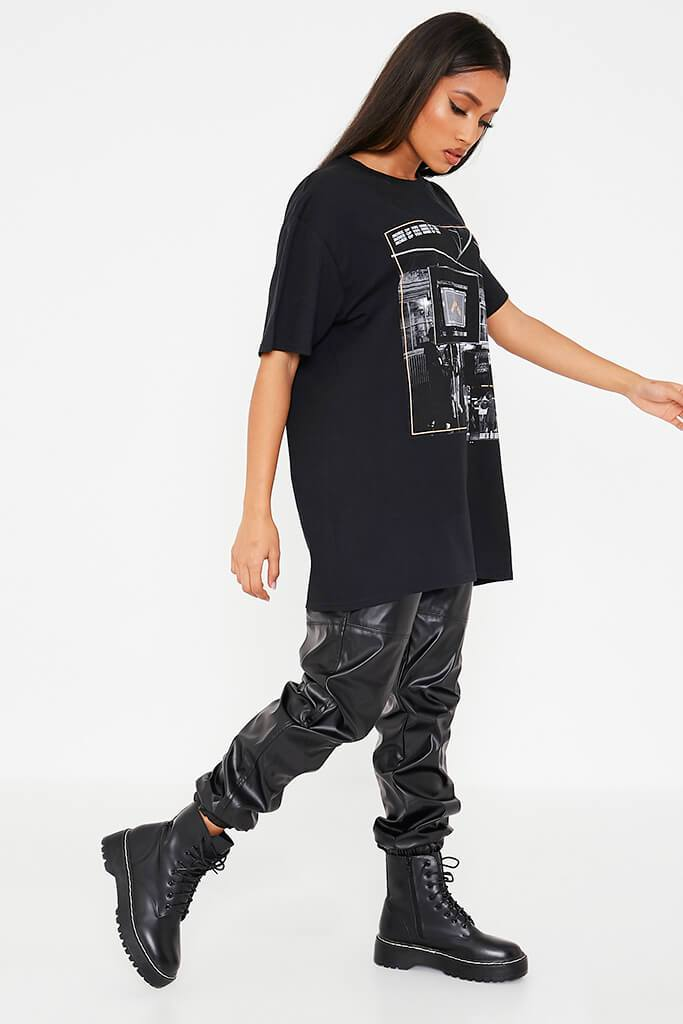 Black More Of You Bts Graphic Print Oversized T-Shirt view 3